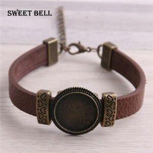 5pcs Cuff Bracelets Blank Trays 18mm Dome Glass Cabochon Tray Jewelry Making Fin