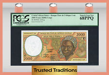 TT PK 103Cg CENTRAL AFRICAN STATES CONGO 2000 FRANCS PCGS 68 PPQ SUPERB GEM NEW