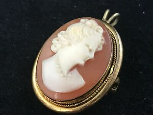 Vintage continental 800 silver gilt carved shell cameo pendant and brooch