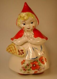 Vintage 1940's HULL Ware #967 Little Red Riding Hood Cookie Jar USA