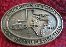 "1982 brown & root  2 million safe hours solid brass belt buckle 3 1/2"" X 2 1/2"""