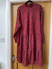 Ladies Plus River Island Red Floral Midi Dress Size 24