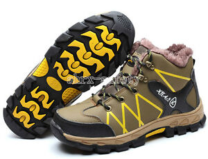Thermal Men's Super Fiber Leather Safety Shoes Steel Toe Work Boots Ankle Boots