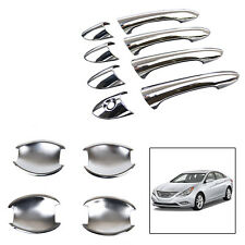 2in1 Fit For 2011-2014 Hyundai Sonata i45 Chrome Door Handle Bowl Cup Cover Trim