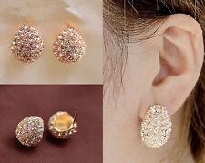 Women Elegant Silver Gold Plated Clear Crystal Rhinestone Lady Ear Stud Earrings