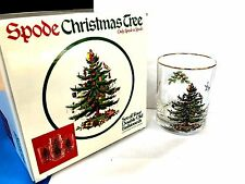 Set of 4 CHRISTMAS TREE SPODE DOUBLE OLD FASHIONED GLASSES 14 OZ