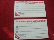 AIRLINE BAGGAGE STICKERS X 2 ALLLEGHENY AIRLINES 1980'S / 90'S VINTAGE