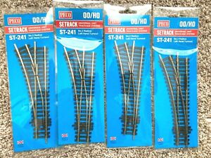 PECO-HO-#ST-241-SETRACK #2 RADIUS-CODE 100-LEFT TURNOUT TRACKS-LOT OF 4-NEW