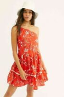 Free People All Mine one shoulder Mini floral Dress cherry Med Lrg k105/104