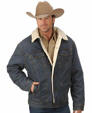 NWT Wrangler Western Sherpa Denim Rustic Jean Jacket (Various Sizes)Cowboy