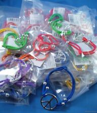 WHOLESALE LOT OF 24 PEACE SIGN BRACELETS jewelry stretch beaded silver hippie