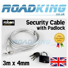 Rolson Seguridad Cable & Lock | 3m X 4mm Candado Bicicleta Protección De Latón De Alambre De Acero