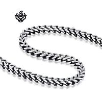 Silver necklace solid stainless steel black vintage style link chain soft gothic