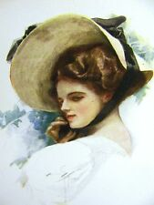 Harrison Fisher GIRL in BONNET w BLACK RIBBON 1912 Antique Art Print Matted