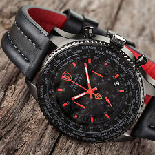 DETOMASO FIRENZE BLACK/RED XXL Herrenuhr Chronograph Schwarz Rot Edelstahl Neu