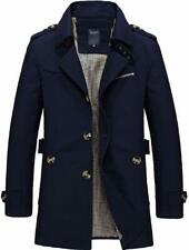 Men's Classic Single Breasted Notched Collar Long Sleeve Midi Trench Jacket Coat