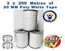 ELECTRIC FENCE TAPE 3 x 200 Metres FENCING 20mm White Poly+FREE TAPE CONNECTORS