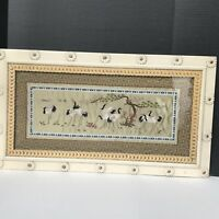 Japanese Crane Needlepoint With Vintage Daisy Frame