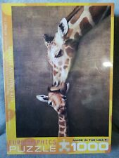 NEW 1000 PIECE JIGSAW PUZZLE GIRAFFE MOTHER'S KISS EUROGRAPHICS FACTORY SEALED