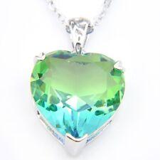 Wedding Gift Luxury Shiny Bi Colored Tourmaline Gems Silver Necklaces Pendants