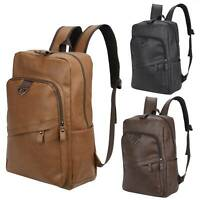 Men Laptop Backpack Leather Travel School Bag Shoulder Handbag Business Rucksack