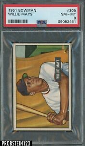 """1951 Bowman #305 Willie Mays NY Giants RC Rookie HOF PSA 8 NM-MT """" ICONIC """""""