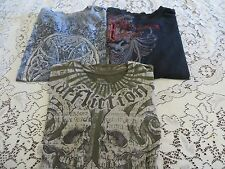 Affliction TEE  LOT 3 Shirts  Flawed/Repaired/Beaters SMALL  SYLVIA Foil Flocked