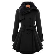 Womens Lapel Double-Breasted Long Parka Coat Winter Warm Trench Outerwear Jacket