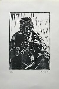 Woodcut Old Woman at The Socks Knitting Handmade Stoppers Crochet 1986