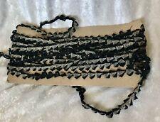 Vintage 8 1/3 Yards Black And Silvery Metallic Weave Trim