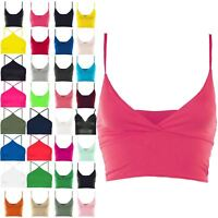 Womens Bra Strap Crop Top Wrap Cross Over Bralet Strappy Tops Plus Size UK 8-26