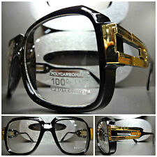CLASSIC VINTAGE CLUB PARTY Clear Lens EYE GLASSES Thick Black Frame Gold Accent
