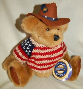 HAND CRAFTED PLUSH BRASS BUTTON BEARS CODY BEAR OF FRIENDSHIP EX COND W/ TAG