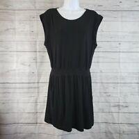 Theory Womens Sleeveless Dress Sz Large Solid Black Elastic Waist Pockets