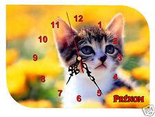 horloge pendule murale REF F019 CHAT CHATON à personnaliser PRENOM  AU CHOIX