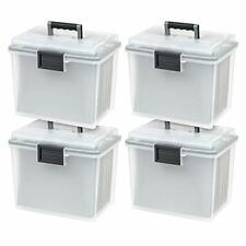 Iris Letter Size Portable Weathertight File Box 4 Pack Clear