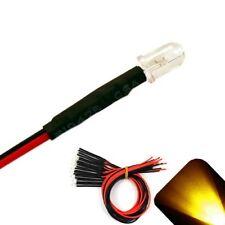 50 x Pre wired 9v 5mm Yellow Gold LEDs Prewired 9 volt DC LED Light RC 8v 7v