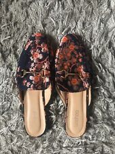 381e647bce4 Boohoo Floral Slip On Mule Loafers Womens Size 7