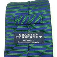 Charles Tyrwhitt Tie Silk Blue Thick Mens Power Necktie London Made in England
