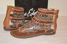 New $130 Sam Edelman Gabriel Saddle Brown Leather Sandal Bead Thong Boho sz 6