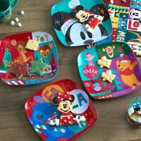 Disney Holiday Joy Cheer Plate Set MICKEY MOUSE Pooh Tigger Piglet BAMBI Stitch