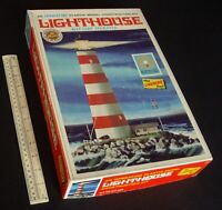 1960s-70s Vintage Lindberg Lighthouse Kit. Battery Operated. Boxed Unused.