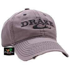 DRAKE WATERFOWL SYSTEMS SOLID DISTRESSED LOGO COTTON HAT BALL CAP GRAY OSFM
