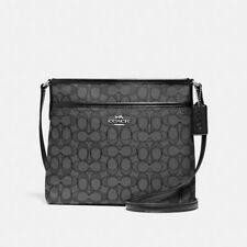 Coach F29960 29960 Outline Signature Z File Crossbody Handbag Black Smoke