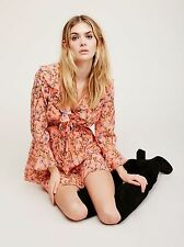 NWOT Free People Ruffle Me Up Mini Dress XS  Retail $128  Coral Combo  New Other