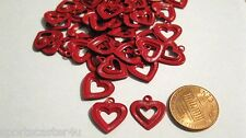 50 LOT Vintage RED Metal Heart Findings Earrings Charms Necklaces