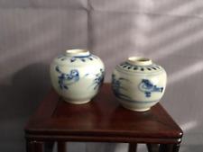 Two Chinese or Vietnamese Ovoid Blue/White Porcelain Bird Feeder