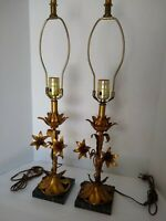 Pair of Vintage Hollywood Regency Italian Gold Gilt Lily Tole Lamps Marble Base