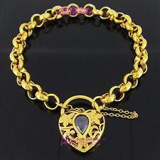 Solid 14k Yellow Gold GF Bracelet Belcher Chain Clasp Padlock Simulated Diamonds