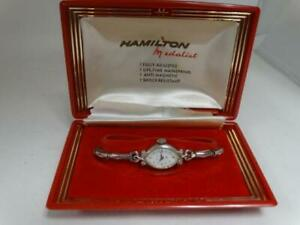 Vintage Ladies Hamilton 780 Medalist 17j 10k Gold Bezel WristWatch w/Box 4U2fix